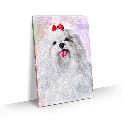Quadro de Cachorro Maltês Pelo Longo Colorido Arte Aquarela