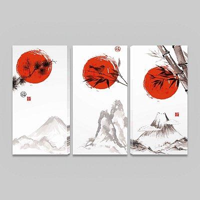 Quadro Oriental Kit 3 Telas Japão Sorte Felicidade