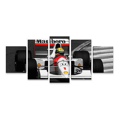 Quadro Ayrton Senna Fórmula 1 McLaren Mosaico 5 Telas