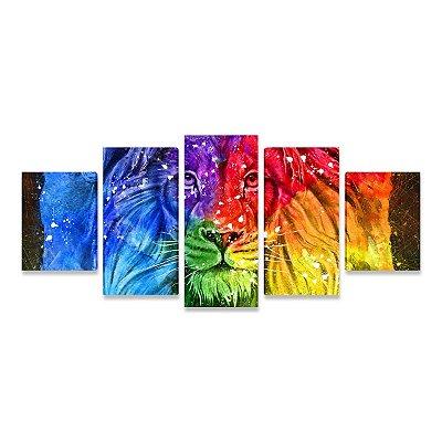 Quadro Leão Colorido Efeito Pintura Moderna Decorativo Mosaico 5 Telas