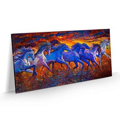 Quadro Cavalos Correndo no Campo Estilo Pintura