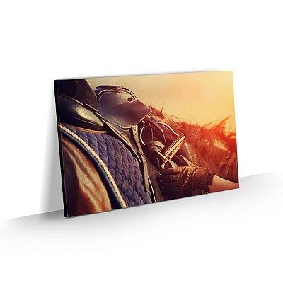 Quadro Cavalo Detalhe Cela Sunset