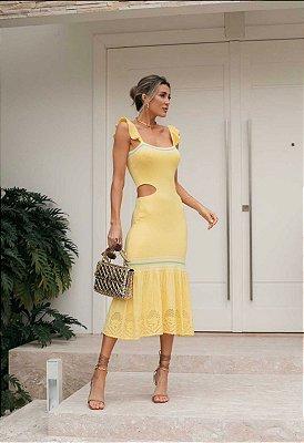 Vestido Em Tricot Modal Amarelo Lara