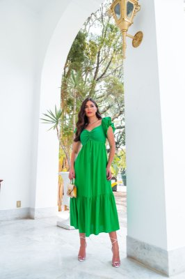 Vestido Verde Com Detalhe Em Lase Rubia