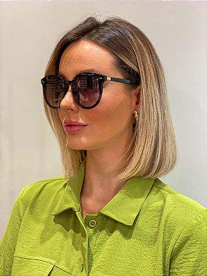 Óculos De Sol Redondo Preto Retrô