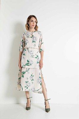 Vestido Midi Rosas Camadas