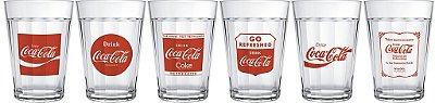 Jogo com 6 Copos Americano Linha do Tempo Coca-Cola 190ml - Nadir Figueiredo