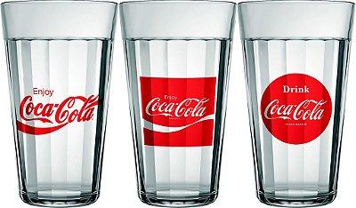 Jogo com 3 Copos Americano Linha Tempo Coca-Cola 450ml - Nadir Figueiredo