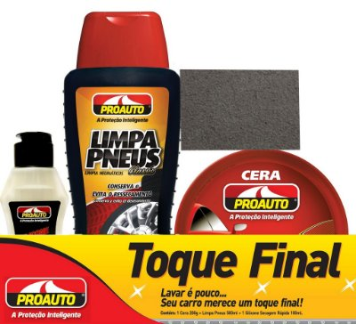 Kit Toque Final 3x1 com Silicone, Cera e Limpa Pneus - Proauto