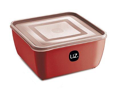 Pote Multiuso Premium Quadrado 2,5 Litros Vermelho Sólido - UZ