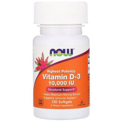 Vitamina D3 10000 UI - 120 Softgels - NOW Foods