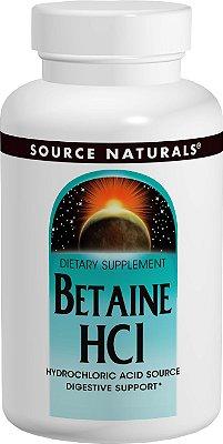 Betaína HCl - Fonte de ácido clorídrico - Suporte Digestivo - 90 Tabletes - Source Naturals