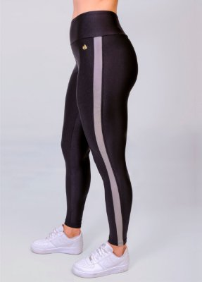 Legging Metalic Faixa Lateral PRETO COM CHUMBO