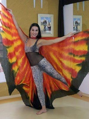 Véu Wings em Seda Pura Pintado à Mão - Fogo