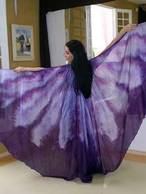 Véu Wings em Seda Pura Pintado à Mão - Roxo com Lilás