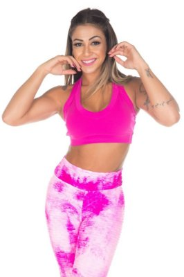 Top Fitness Rosa Pink Garota Fit