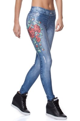Calça Jeans Fake Roses Rola Moça 06260