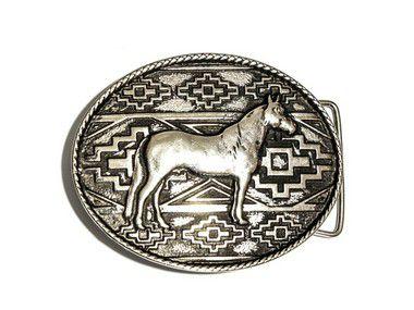 Fivela Cavalo Pampa - Prata Velha/Ouro Velho - 40mm