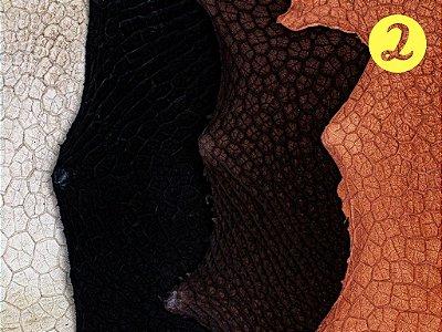 Couro Exótico - Retículo Bovino - Mix com Várias Cores