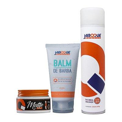 1 Pomada Matte + 1 Balm para Barba + 1 Hair Spray Alta Fixação