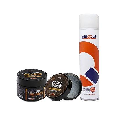 1 Gel Ultra Glued 2.0 Super Cera (Incolor) +  1 Pomada Modeladora Ultra White (Incolor) + 1 Hair Spray Alta Fixação