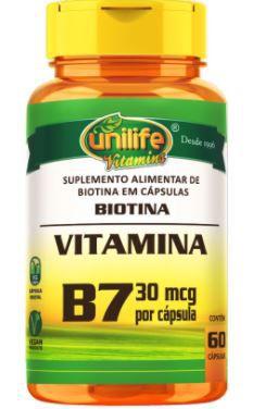 Biotina B7 500mg Cabelos Unhas e pele - 60 caps - Unilife