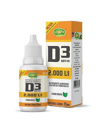 Vitamina D3 2000UI por gota - 20ml - Unilife (sabor menta)