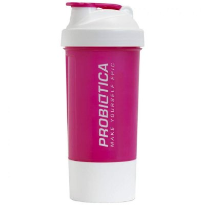 Coqueteleira - 2 Compartimentos - Rosa e Branca - Probiótica