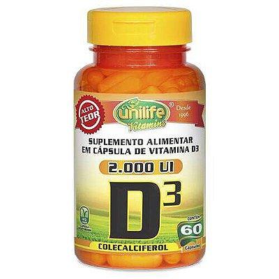 Vitamina D3 Colecalciferol - 60 cápsulas - Unilife