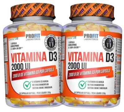 2x Vitamina D3 2000UI Oleosa (120 caps total) - ProFit