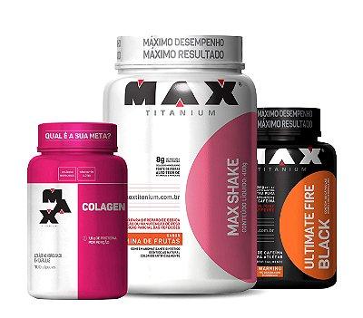 Combo Max Shake + Colágeno + Fire Black - Max Titanium