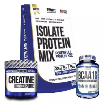 Combo Isolate Protein Mix 900g + Creatina 150g + BCAA 1g 60tabs