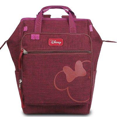 Mochila Maternidade Baby Disney Minnie Com Bolso Térmico | Cor: Vinho