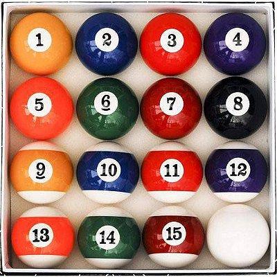 Jogo de bola 1 a 15 fachada + bola branca - 54mm