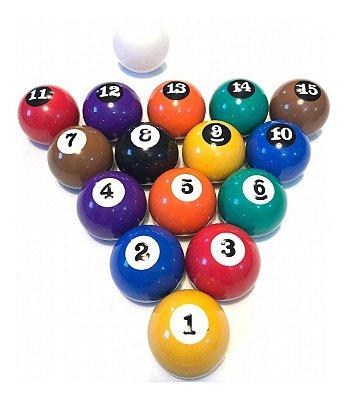 Jogo de bolas 1 a 15 + bola branca - 54mm