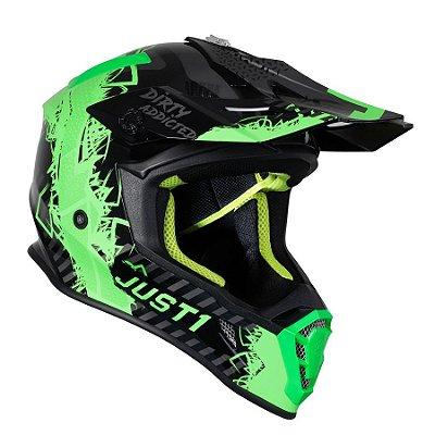 Capacete Just 1 J38 Mask - Verde fluo/Titanium/Preto