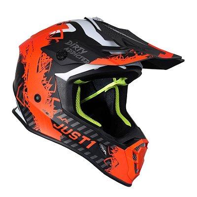 Capacete Just 1 J38 Mask - Laranja Fluo/Titanium/Preto