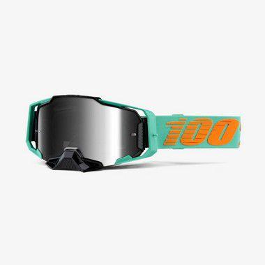 Oculos 100% Armega - Lente Espelhada - Azul Ciano