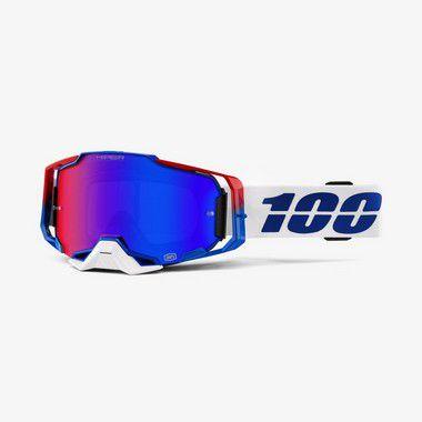 Oculos 100% Armega - Lente Espelhada Hiper - Branco/Azul/Vermelho