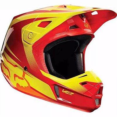 Capacete FOX V2 IMPERIAL - Amarelo/Vermelho