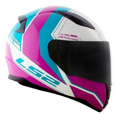 Capacete LS2 FF353 Rapid Candie - Branco/Rosa Fluor/Azul