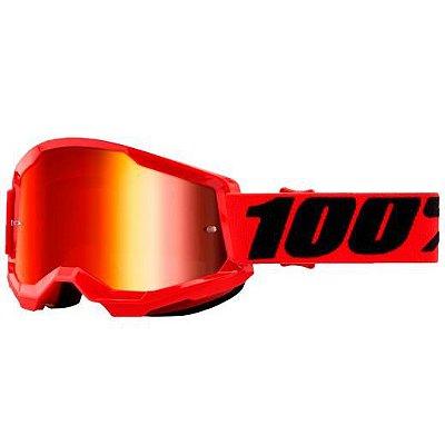 Óculos 100% Strata 2 Red Lente Espelhada