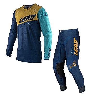 Conjunto Calça + Camisa Leatt Moto 4.5 - Azul Dourado