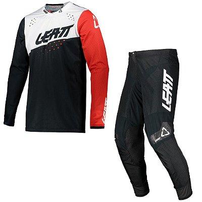 Conjunto Calça + Camisa Leatt Moto 4.5 - Preto/Branco/Vermelho