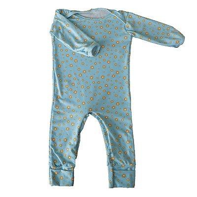 Macacão - Azul Bebê Florzinhas
