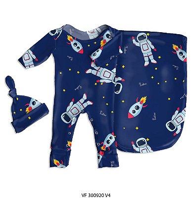Estampa astronauta marinho personalizada com o nome do bebê