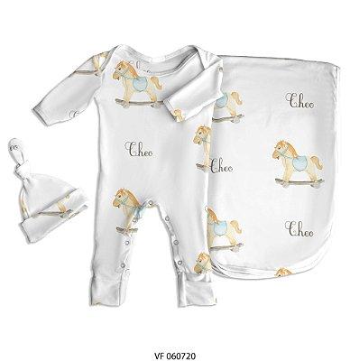 Estampa cavalinho personalizada com o nome do bebê