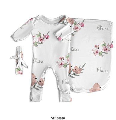 Estampa passarinhos personalizada com o nome do bebê