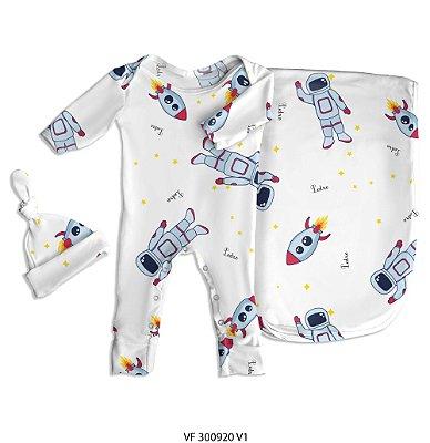 Estampa astronauta personalizada com o nome do bebê