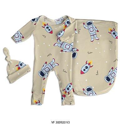 Estampa astronauta nude personalizada com o nome do bebê